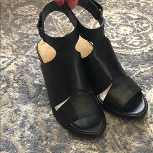 Via Spiga black leather wedge. Size 5.